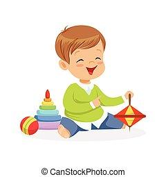 fiú, kevés, színes, ülés, emelet, betű, ábra, apró, vektor, imádnivaló, játék, boldog