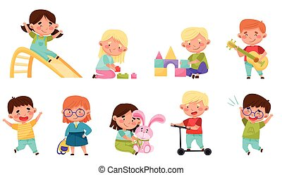 fiú, lány, csinos, játék, kevés, vektor, birtoklás, apró, móka, állhatatos