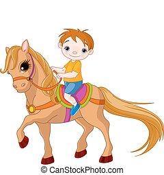 fiú, ló