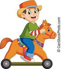 fiú, ló, játékszer, tol, játék
