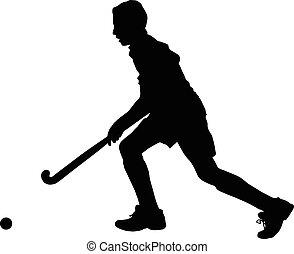 fiú, labda, árnykép, játékos, futás, jégkorong