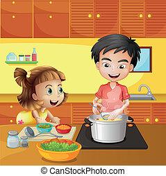 fiú, leány, fiatal, konyha