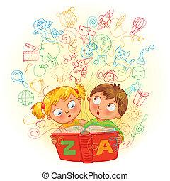 fiú, leány, könyv, varázslatos, felolvasás