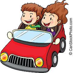 fiú, leány, lovaglás, piros autó