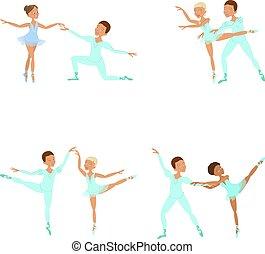 fiú, leány, táncosok, balett