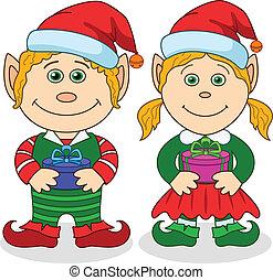 fiú, leány, törpék, karácsony