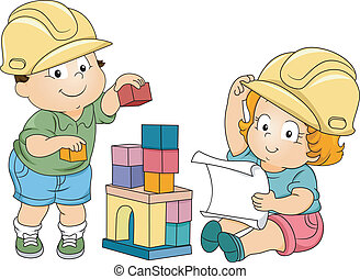 fiú, leány, totyogó kisgyerek, konstruál