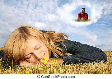 fiú, nő, kollázs, fiatal, fekszik, fű, álmodik, felhő