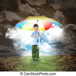fiú, napfény, küllők, esernyő, remény