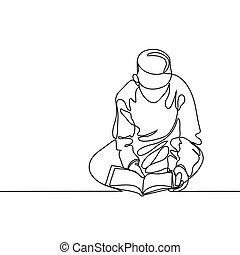 fiú olvas, fez, koran.