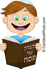 fiú olvas, haggadah, zsidó húsvét