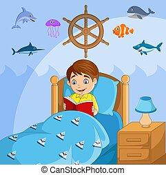 fiú olvas, könyv, kevés, övé, ágy
