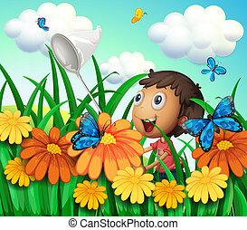 fiú, pillangók, virág, fertőző, kert