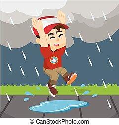 fiú, pocsolya ugrás, eső