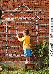 fiú, rajz, épület