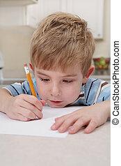 fiú, rajz, ceruza