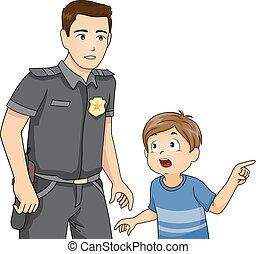 fiú, rendőrség, ábra, jelent, ember, kölyök