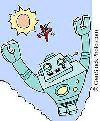 fiú, robot