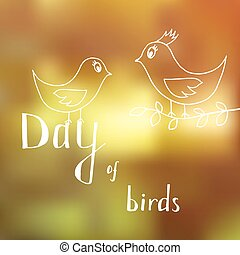 fiú, rokonság, nyár, napos, két, madár, nap, madarak, háttér, anya, leány, gyermek, becsül, karikatúra