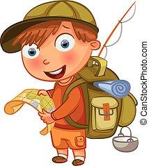 fiú, scouts., betű, karikatúra, furcsa