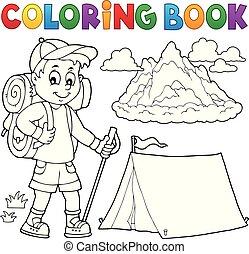 fiú, színezés, kiránduló, topic, könyv, 1