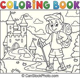 fiú, színezés, kiránduló, topic, könyv, 2