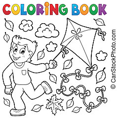 fiú, színezés, papírsárkány, könyv