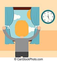 fiú, színhely, reggel, látszó, ablak, ki