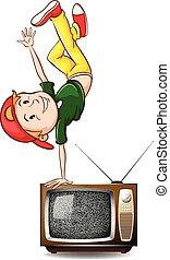 fiú, televízió, tánc