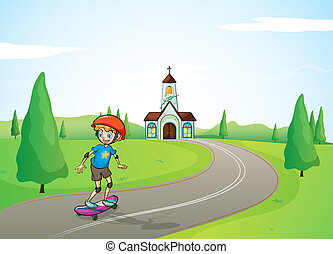 fiú, templom