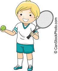 fiú, tenisz