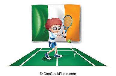 fiú, tenisz, lobogó, írország, elülső, játék