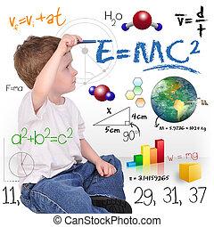 fiú, tudomány, fiatal, írás, zseni, matek