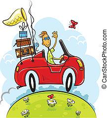 fiú, utazás, autózás, autó