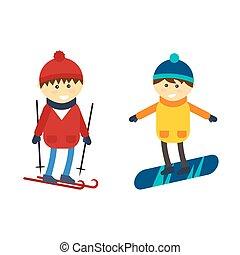 fiú, vektor, snowboarding, illustration., síelés