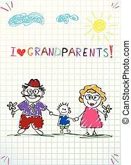 fiúunoka, színes, gyerekek, köszönés, kéz, vektor, együtt., nagyanyó, húzott, nagyapó, kártya