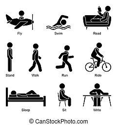 fiatal, alak, ábra, ki, felolvasás, bábu ül, fehér, bot, pictogram, repülés, lovaglás, írás, vektor, haladó, gyalogló, álló, futás, állhatatos, alvás, úszás, aktivál, elvág
