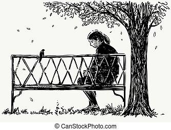 fiatal, bírói szék, ülés, szomorúság, városiak, skicc, liget
