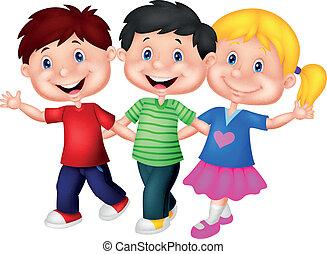 fiatal, boldog, karikatúra, gyerekek