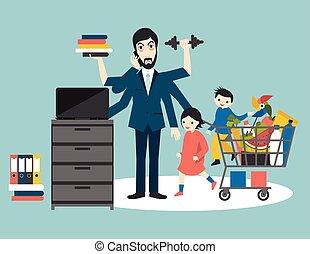 fiatal, gyakorlás, gym., atya, üzletember, gyerekek, dolgozó, vector., ember, worker., apuka, ember, bevásárlás, lakás, több feladattal való megbízás, elfoglalt, hívás, papa