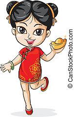 fiatal, kínai