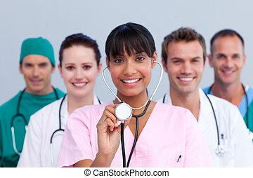 fiatal, orvosi sportcsapat, portré