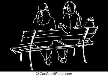 fiatal, skicc, bírói szék, párosít, ülés