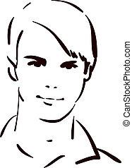 fiatalember, bájos, arc