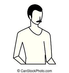 fiatalember, white háttér, árnykép