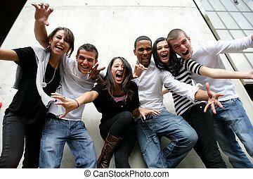 fiatalság csoport, feltevő, fénykép