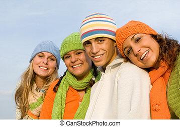 fiatalság, mosolygós, csoport, boldog