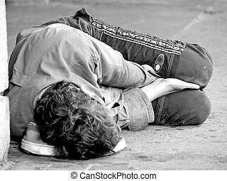 fiatalság, utca, otthontalan
