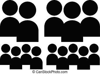 figuers, csoport, jelkép., különböző, betűk, tagok, szám