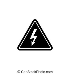 figyelem, lakás, elektromos, veszély, magas, vektor, feszültség, ikon